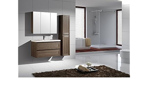 Jindoli Conjunto Completo de Muebles de baño 100 cm marrón con 1 Mueble Armario 2 cajones + un Mueble Alto Armario de baño Espejo 3 Puertas y una Columna 2 Puertas Reversible.: Amazon.es: Hogar