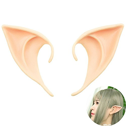 [YOHEE 1 Pair Cosplay Masks Soft Fairy Pixie Elf Ears Accessories Halloween Party Pointed Prosthetic Tips Ear(Color] (Elf Ears Halloween)