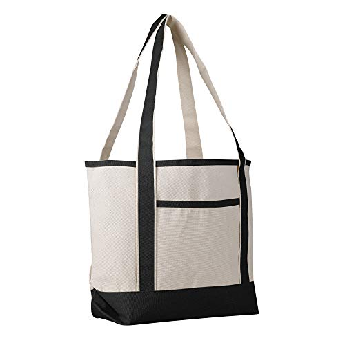 - Canvas Boat Tote Bag - 18 inch - Wide Heavy Duty Sturdy & Reusable with Inside Zipper Pocket Cotton Canvas Beach Weekender Travel Luggage Totes for Women, Men, Kids, Girls, Boys (Black)
