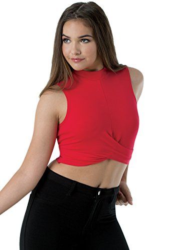 Balera Top Womens Cropped Tank Girls Sleeveless Shirt For Dance With Crossover Front and Mock Neck Collar Red Child Large