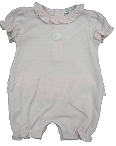 Kissy Kissy Baby-Girls Infant Lovable Lambs Stripe Short Playsuit-Pink and White-9 Months (Lovable Lamb)