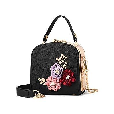 338e7ca37c HITSAN INCORPORATION Siruiyahan Shoulder Bags Women Leather Handbags Chain  Small Bag Female Solid Flowers Hasp Women Messenger Bags Flap Color black   ...