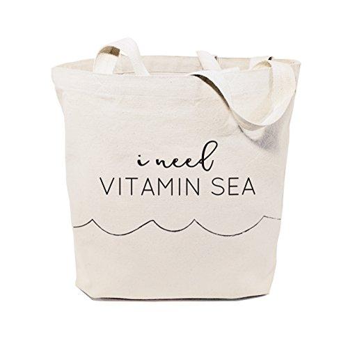 The Cotton & Canvas Co. I Need Vitamin Sea Beach, Shopping and Travel Resusable Shoulder Tote and Handbag