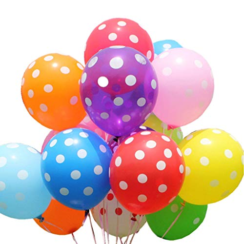 GuassLee 100 ct Assorted Polka Dots Balloon 12 Latex Helium Balloons for Wedding Birthday Party Festival Christmas Decorations
