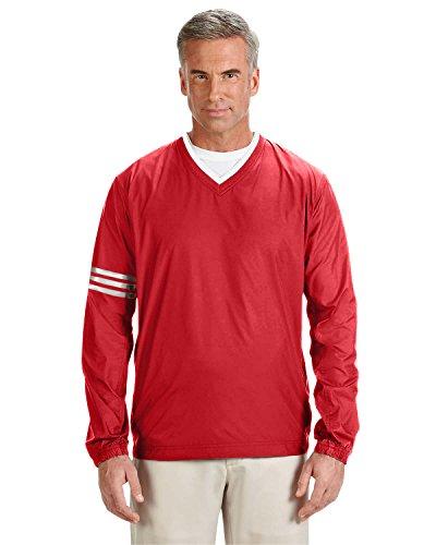 adidas Golf Men's climalite Colorblock V-Neck Wind Shirt, 3XL, POWER RED/BLACK