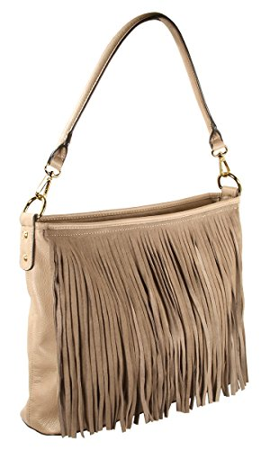 Faux Suede Western Fringe Tassels Handbag Celebrity Shoulder Bag ()