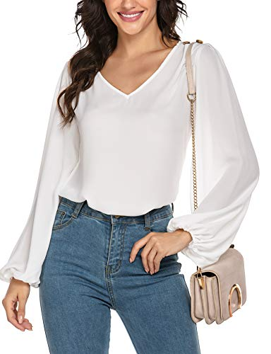 Chigant Womens V Neck Chiffon Blouses Long Lantern Sleeve Pullover Buttoned Ruffle Shoulder Tops Sheer Office Work Shirts White