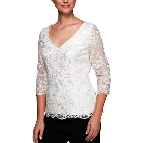 Alex Evenings Women's Embroidered Blouse Shirt (Missy and Petite), White, - Top Embroidered Neck Scallop