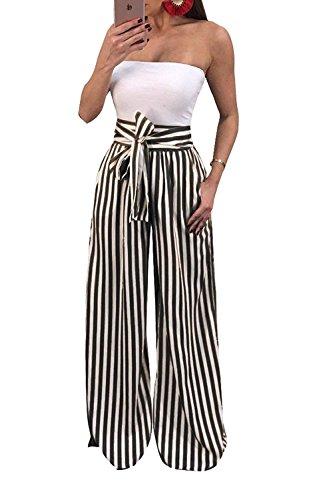 Pantaloni Abbigliamento Primaverile Cravatta A Bendare Dritti Moda Vita Larghi Multicolor Pantaloni Autunno Pantaloni Eleganti Lunga Ragazza Casual Donna Chic A Farfalla Alta Pantaloni Trousers Tasche Con Righe rX7y4wrpqO