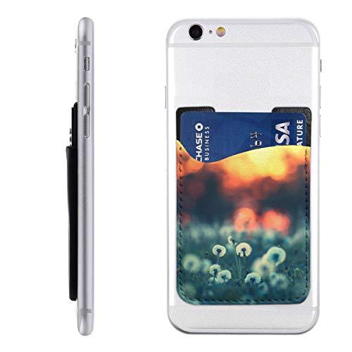 Cell Phone Stick On Wallet Dandelion Seeds Sunset Landscape Card Holder Phone Ultra-Slim Pocket for iPhone, Android and Smartphones