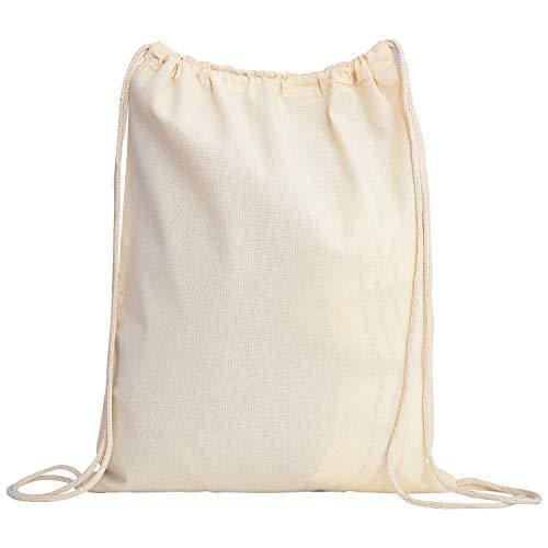 TBF Cotton Drawstring Backpack String Gym Sack Bag Canvas Cinch Sack Sport Cinch Pack Backpack Rucksack for Men, Women, Kid, School, Travel (Natural, Set of 12) ()
