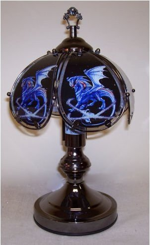 OK LIGHITNG OK-603C-US17-SP3 14.25 in. Blue Dragon Touch Lamp
