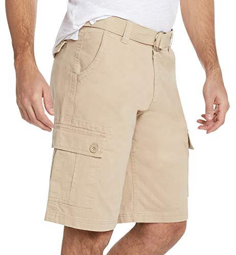 9 Crowns Men's Premium Twill Belted Cargo Shorts-Khaki-38