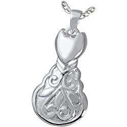 Cremation Memorial Jewelry: Sterling Silver Scroll Kitty