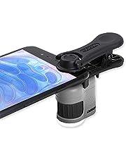 Carson MicroMini Taschenmikroskop 20x mit LED/UV-Beleuchtungsfunktion und Taschenlampe sowie Clip zur Befestigung an Einem Smartphone