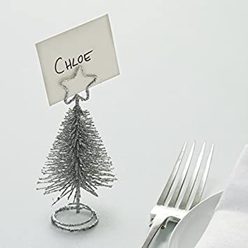 Ginger Ray Silver Glitter Christmas Tree Place Card Name Holders 4