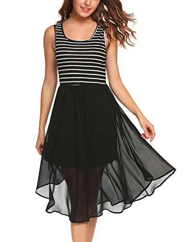 Zeagoo Women's Casual Contrast Sleeveless Striped A-line Midi Dress