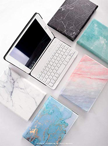 iPad Mini 4 Keyboard case,iPad Mini 1/2/3 Case with Keyboard Marble Flip Folio Magnetic Stand Protective Cover with Detachable Bluetooth Keyboard for iPad Mini 4/Mini 1/2/3 (iPad Mini 4, Blue&Gold) by IQIYEVOLEW