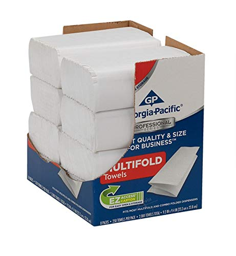Disposable Towel Georgia (Georgia-Pacific Professional Series Premium 1-Ply Multifold Paper Towels by GP PRO, White, 2212014, 250 Towels Per Pack, 8 Packs Per Case)