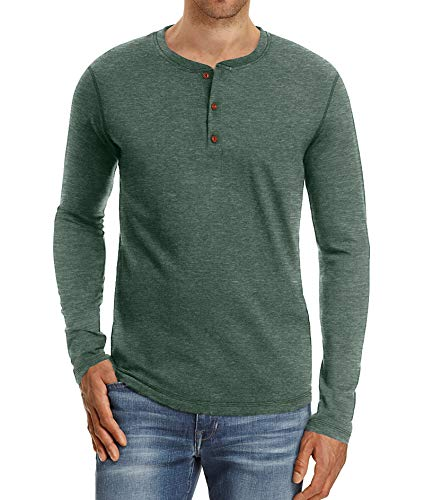 - NITAGUT Mens Fashion Casual Front Placket Basic Long/Short Sleeve Henley T-Shirts (XL, 01 Green)