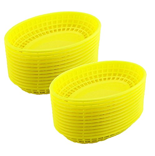 Set of 24 Yellow Oval Fast Food / Deli Baskets, 9.25 by 5.67-Inch, Yellow (24) (Party Basket)