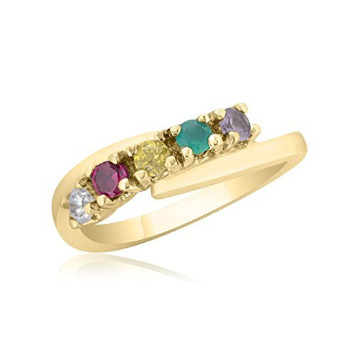 10K Yellow Gold Mother's Day Ring – 5 Birthstone Family Ring by Ice Gold Jewellery Inc