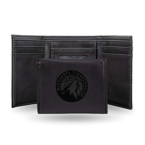 Rico Industries NBA Minnesota Timberwolves Laser Engraved Tri-Fold Wallet, Black