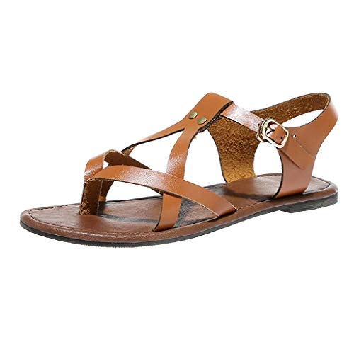- COOlCCI_2019 Women's Flat Sandal Criss-Cross Open Toe Wide Elastic Strap Fashion Summer Shoes Slippers Brown