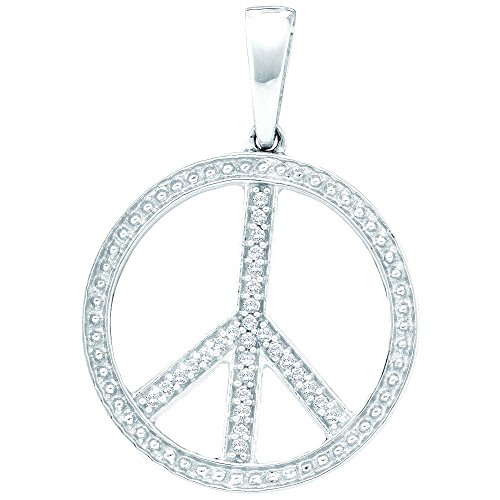 10K White Gold Diamond Peace Sign Circle Necklace Pendant 1/10 Ctw.