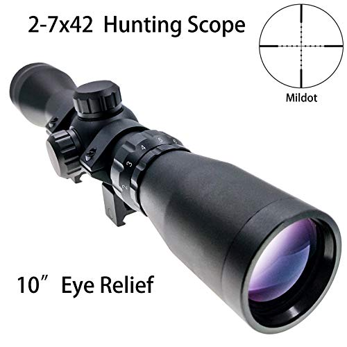 (Shooney's Long Eye Relief 2-7x42 LER Scope Mildot Fits Mosin 1891/30 M39 LER Scope with Picatinny 1913 Ring Mounts)