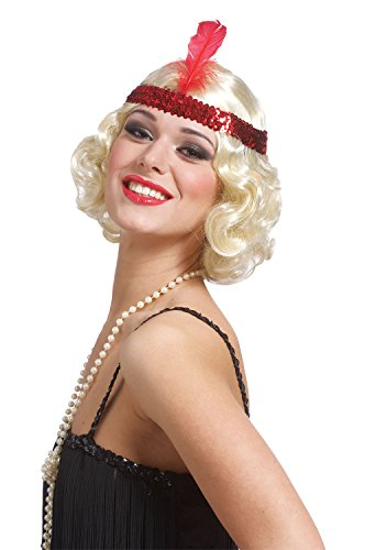 Blonde Curly Flapper Wig With Headband (Costume Culture Women's Curly Flapper Wig with Sequin Headband, Blonde, One Size)