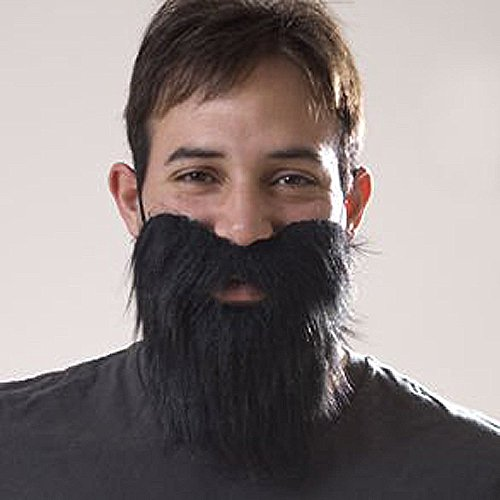 Black Mustache & Long Beard Costume Accessory One Size
