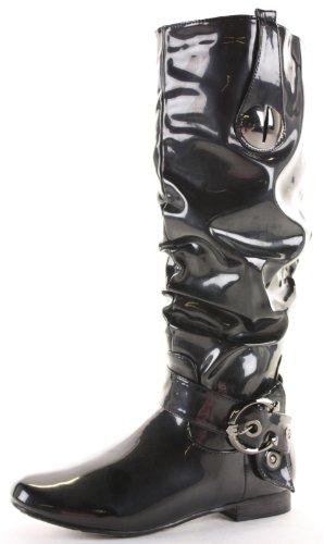 Womens Winter Biker Pirate Style Low Flat Heel Calf Leg Knee Boots Size 3-8 wL7FBpg
