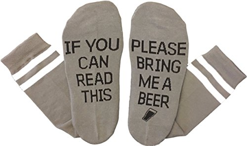 Saucey Socks - Please Bring Me Beer Socks (9-11, Beer - Grey with Black Lettering - PRIME) (Beer As A Gift)