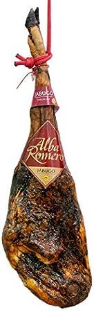 Jamón 75% raza Ibérica de Bellota DOP Jabugo (Calidad Excellens) ALBA ROMERO | Peso aproximado de 8 KG | Pieza entera + cubrejamón