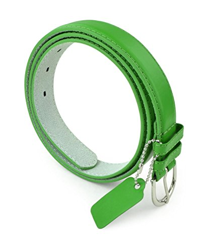 Solid Color Bonded Leather Silver Polished Buckle Belle Donne - Fd Green X-Large ()