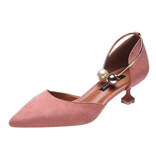 (Toimothcn Women's Pointed Toe Thin Middle Heel  Pumps Sandals Bridesmaid Shoes for Work Wedding (Pink1,US:7))