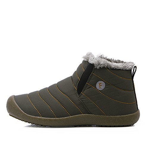 Middle Top-Green WateLves Mens Womens Snow Boots Winter Anti-Slip Ankle Booties Outdoor Slippers Slip On with Warm Fully Fur Lined