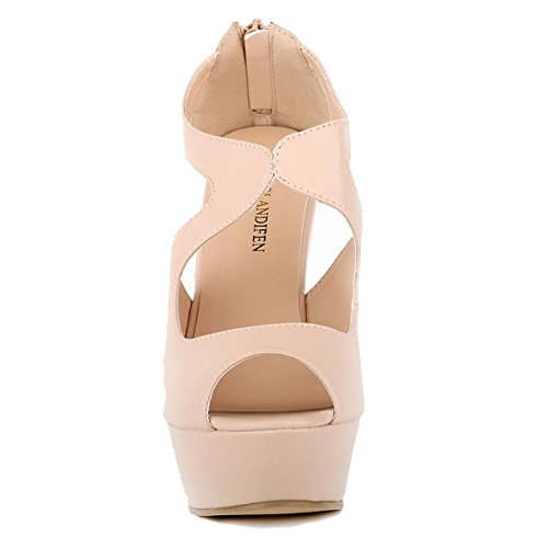 Nude Ankel Womens Loslandifen Wedge Leater Sandals Strap Matt Ladies Platform fdBBqO