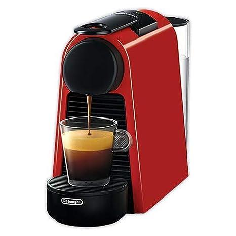 Nespresso DeLonghi Essenza Mini EN85.R - Cafetera monodosis de cápsulas Nespresso, compacta, 19 bares, apagado automático, color rojo