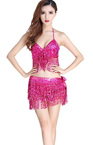 ZLTdream Belly Dance Costume Bra Top with Chest & Hip Scarf with Fringe Rose ()
