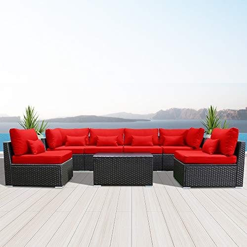 Modenzi 7G-U Outdoor Sectional Patio Furniture Espresso Brown Wicker Sofa Set (Crimson Red)