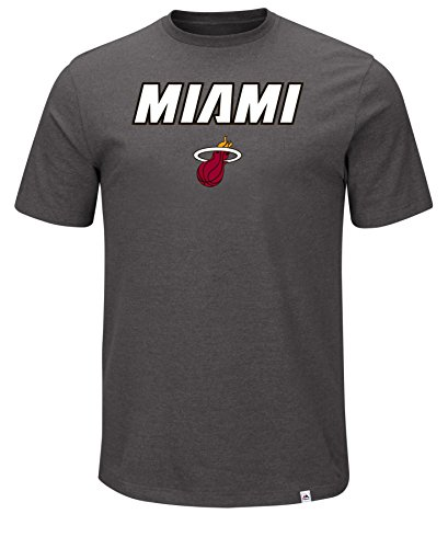 NBA Miami Heat Men's Established Position Short Sleeve Crew-Neck Tee, X-Large, Charcoal Heather -