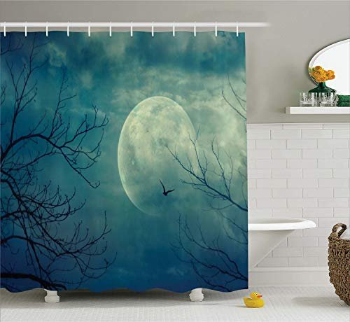 Ambesonne Horror House Decor Shower Curtain, Halloween with Full Moon in Sky and Dead Tree Branches Evil Haunted Forest, Fabric Bathroom Decor Set with Hooks, 70 Inches, Blue Teal