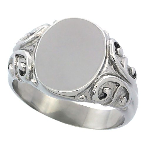 Surgical Stainless Steel Medium Signet Ring Solid Back Flawless Finish with C Scrolls 1/2 inch, size 6.5