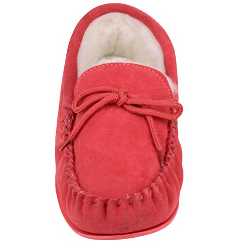 Snugrugs Womens Luxury Lambswool In Suede Mocassino / Slipper Con Suola In Gomma Cremisi