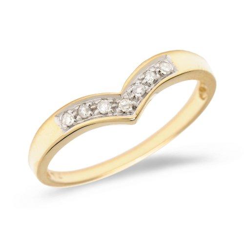 (0.07 Carat (ctw) 10k Gold Round Diamond Chevron Ring V Shaped Fashion Anniversary Wedding Band - Yellow-gold, Size 8)