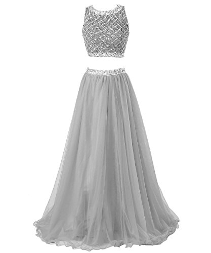 Callmelady Long Women Sleeveless Prom With Silver Sequined For Two Dresses Piece Top wTEwOBqa