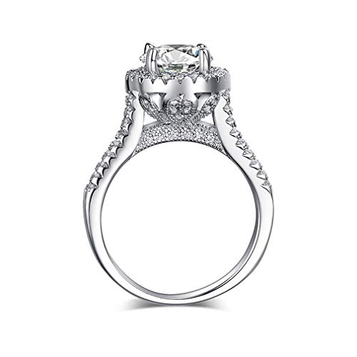 VAJONN Luxury Women Engagement Jewelry 925 Sterling Silver 5A ZC Crystal Zircon Female Wedding Finger Flower Rings Platinum Plated 8
