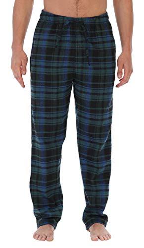 (Gioberti Mens Brushed Flannel Pajama Pants, Elastic Waist, Black/Green/Blue, X-Large)